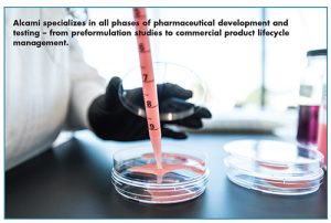 Alcami specializes in all phases of pharmaceutical development and testing – from preformulation studies to commercial product lifecycle management.