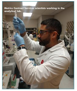 Metrics Contract Services scientists working in the analytical lab.