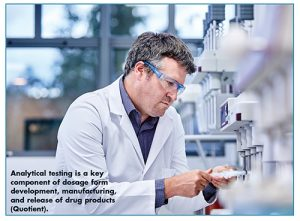 Analytical testing is a key component of dosage form development, manufacturing, and release of drug products (Quotient).