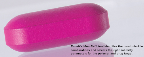Evonik's MemFisTM tool identifies the most miscible combinations and selects the right solubility parameters for the polymer and drug target.
