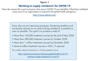 """Working to supply remdesivir for COVID-19 """"Since the moment the novel coronavirus that causes COVID-19 was identifi ed, Gilead has mobilized every area of our organization to respond to the global health emergency."""" https://www.gilead.com/"""