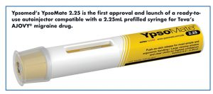 Ypsomed's YpsoMate 2.25 is the first approval and launch of a ready-touse autoinjector compatible with a 2.25mL prefilled syringe for Teva's AJOVY® migraine drug.
