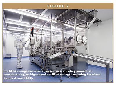 Pre-filled syringe manufacturing services, including parenteral manufacturing, on high-speed pre-filled syringe line, using Restricted Barrier Access (RAB).