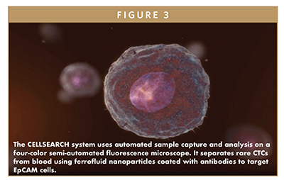The CELLSEARCH system uses automated sample capture and analysis on a four-color semi-automated fluorescence microscope. It separates rare CTCs from blood using ferrofluid nanoparticles coated with antibodies to target EpCAM cells.